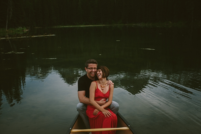 engagement session on a pond, Fernie, BC