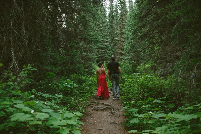 Island Lake Lodge, Fernie, BC couples walk, hike, nature trail, love photography session, engagement